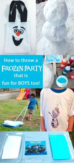 Disney Frozen Party for Boys - We have some great ideas on how to throw a Frozen Party that is fun for boys too! Check out our Olaf party favors, play snow, ice block races and troll slime. And for more fantastic Frozen Party Ideas follow us at http://www.pinterest.com/2SistersCraft/