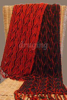 two coloured brioche stitch cable scarf