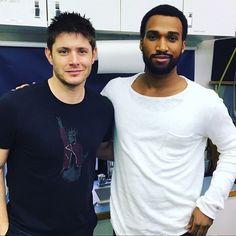 L Jensen on set with guest star Nate Mitchell  pic credit @itsnatemitchell (twitter)