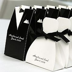 Add a whimsical touch to your reception table with our fun tuxedo and bridal gown favor boxes. Fill them with homemade goodies or the traditional Jordan almonds for a delightful treat. Each box can be personalized with the first names of the bride and groom along with the wedding date. Select from 18 colors for personalization.