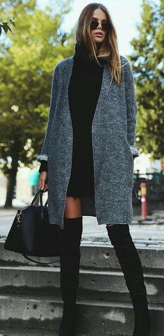 A Black Sweater Dress, a Gray Cardigan, and Black Over-the-Knee Boots outfit Nothing to Wear? These Easy Outfit Ideas Prove Otherwise Mode Outfits, Fashion Outfits, Womens Fashion, Fashion Trends, Fashion News, Fashion Clothes, Review Fashion, Trending Fashion, Fashion Bloggers