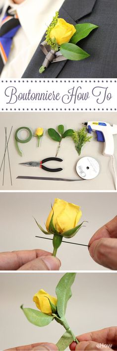 For formal occasions like weddings and proms, the well-dressed gentleman's ensemble is not complete without a boutonniere. They're so easy to make, you'll wonder why florists charge so much for them. Boutonnieres, Wedding Boutonniere, Prom Flowers, Wedding Flowers, Diy Flowers, Flower Diy, Do It Yourself Wedding, Before Wedding, Wedding Crafts