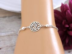 Family Tree Bracelet, Mother of the Groom, Mother of the Bride, Family Tree Jewelry, Tree of Life Bracelet, Sterling Silver, for Wedding