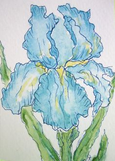 Blue Iris ACEO ATC by Lynne Howard