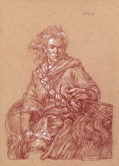 """""""Legolas in Rohan""""      10"""" x 14"""" colored pencil on toned paper  © 2005 Donato Giancola    private collection"""