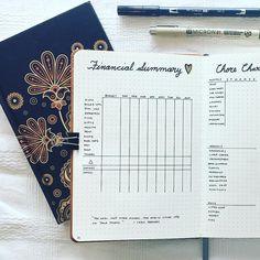 Bullet journal financial summary, financial tracker.   @teesjournalig