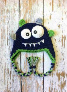 Crochet baby monster hat blue by GBabyCrochet on Etsy Crochet Baby Hat Patterns, Crochet Kids Hats, Crochet Toddler, Crochet Beanie Pattern, Crochet For Boys, Knitted Hats, Crochet Monster Hat, Crochet Monsters, Crochet Princess Hat