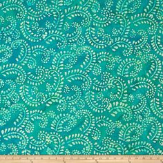 Indian Batik Hollow Ridge Scroll Vine Teal/Natural from From Textile Creations, this Indian batik is perfect for quilting, apparel and home decor accents. Colors include various shades of turquoise and cream. Shades Of Turquoise, Shades Of Blue, Teal, Indian Fabric, Brocade Fabric, Amazon Art, Sewing Stores, Tiffany Blue, Accent Decor