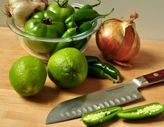 green tomato jalapeno salsa - I used tomatillos instead of tomatoes and it's good, just spicy!