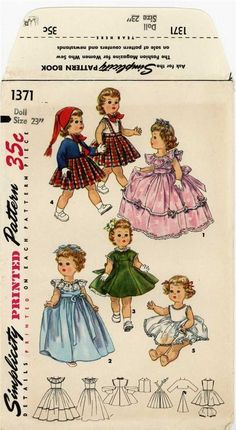 ORIGINAL Doll Clothes PATTERN 1371 for 23 inch Saucy Walker Posie by Ideal Bonny