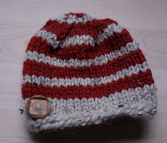 Kids knit striped hat with wooden button $20