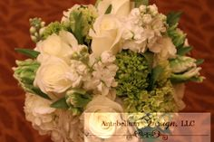 green and white bridal bouquet with wedding flowers like parrot tulips, stock, Dallas wedding flowers by AntebellumDesign.com