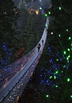 Este es el parque depuente colgante de Capilano (Capilano Suspension Bridge Park). A lo largo del parque hay miles de luces que están sobre el puente colgante y más. Es un lugar precioso para ir a pasear y ver las hermosas luces alrededor.