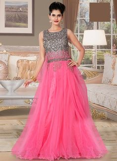 Enchanting Pink Net Gown