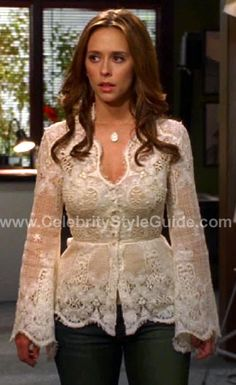 Jennifer Love Hewitt - Ghost whisperer style - Dorothy Amos lace top. > I absolutely loved her wardrobe in that series. So feminine. & lots of lace....lol