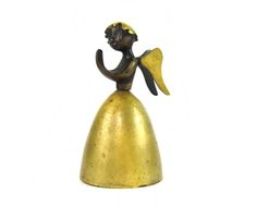 """Walter Bosse Angel Bell, 10 cm L, Marked """"Baller Austria"""" Modern Vienna Bronze"""