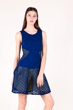 Novelty Netting Dropwaist Dress (Navy)