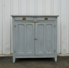 Chalk blue kitchen cabinet | Two Sisters Home
