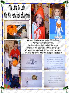 The Little Old lady Who Wasn't Afraid of Anything Preschool Classroom, Kindergarten, Scarecrows, Pilgrims, Old Women, Bats, Phonics, Lesson Plans, Pumpkins