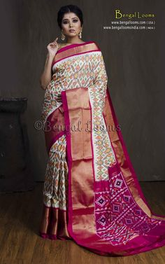 Patola Double Ikkat Silk Saree in Off White, Rani and Gold