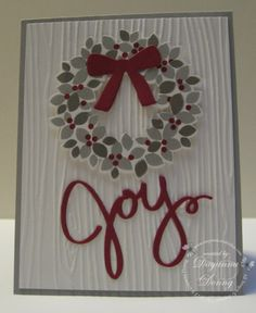 Silver Wreath by jaydee - Cards and Paper Crafts at Splitcoaststampers Wonderful Wreath in gray and cherry cobbler with woodgrain