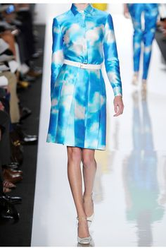 Michael Kors - Digital cloud-print wool and silk-blend skirt