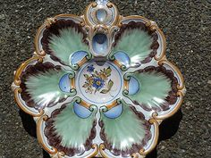 Antique French St. Clement Majolica Oyster Plate