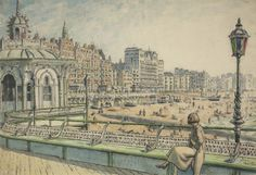 Brighton front with the Metropole and Grand Hotel; Daphne Charlton sits on a bench by a kiosk on the West Pier. On the right is an ornate lamp with coloured glass Brighton Rock, Brighton And Hove, Images Of England, Royal Pavilion, Store Image, Coloured Glass, Grand Hotel, Kiosk, Palace