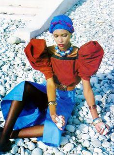 Mounia for Saint Laurent Rive Gauche _ Photo by Helmut Newton Vogue UK March 80s Fashion, Fashion History, African Fashion, Vintage Fashion, African Style, Ysl, Yves Saint Laurent, Helmut Newton, Perfect People