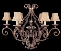 Six arm chandelier in tortoised leather crackle finish with stained silver leaf accents. Hand-sewn, silk shantung shades.