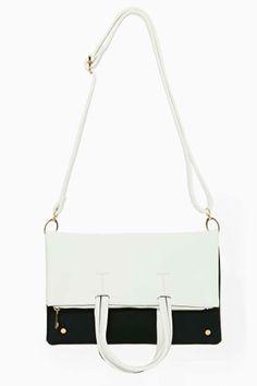 Contrast Foldover Tote Bag