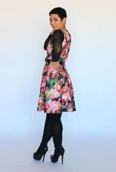 Great dress from our fabric.  Simplicity 1325 Marni Double Knit Stretch Print - ML287207 - Multi Spandex Stretch Illusion - ML214825 - Black