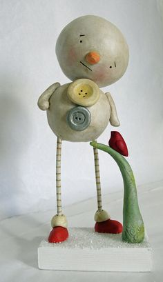 Snowman and Cardinal bird original sculpture by JanellBerryman, $135.00