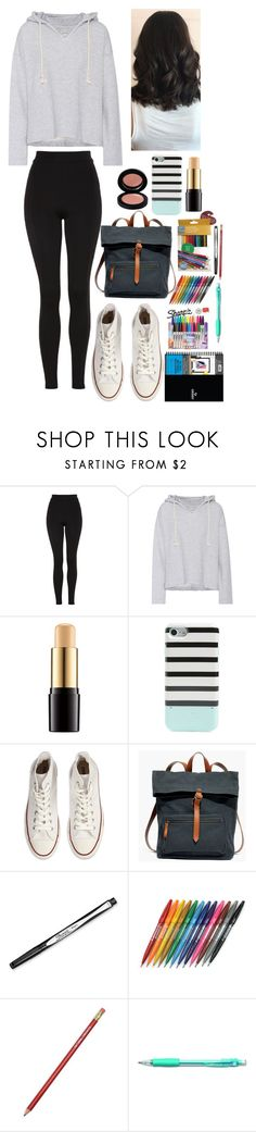 """OOTD (featuring my art bag!)"" by gussied-up ❤ liked on Polyvore featuring Topshop, Current/Elliott, Lancôme, Kate Spade, Converse, Madewell, Sharpie, Pentel and 24/7 Perspective"