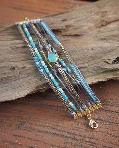 Bleu mix couche bracelet bracelet Boho bracelet manchette en