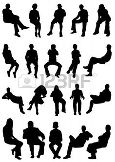 Free Vector Silhouettes Of People Standing Sitting