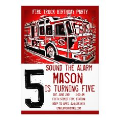 Fire Truck Engine Firefighter Birthday Invitations SOLD on Zazzle