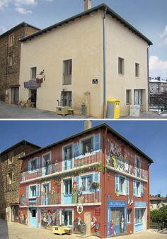 El artista callejero francés Patrick Commecy transforma paredes de edificios en escenas llenas de vida.