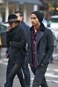 beanie, leather jacket w/ textured collar, flannel