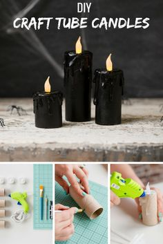 Who knew you could create candles out of paper rolls? Make your own spooky decor. - Who knew you could create candles out of paper rolls? Make your own spooky decor this Halloween by - Halloween Tanz, Diy Halloween Party, Homemade Halloween Decorations, Spooky Decor, Halloween Birthday, Holidays Halloween, Halloween 2016, Halloween Candles, Halloween Ceiling Decorations