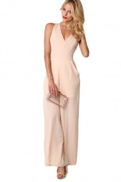 X Back Jumpsuit in Taupe