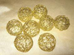 Drahtkugeln,Tischdekoration, Bastelmaterial, Gold, 8 Stück,  ca. 4cm