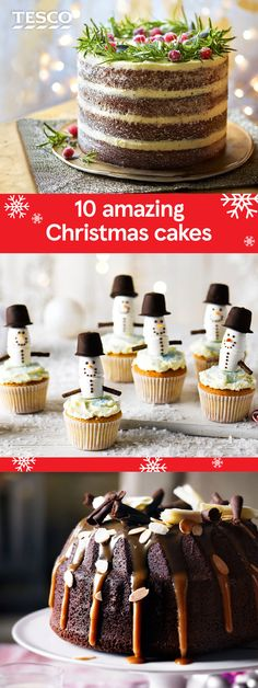 Take your Christmas baking up a level this year with these ideas for amazing Christmas cakes. From traditional fruit cakes to multi-layered gingerbread cakes, cute Christmas cupcakes and rich chocolate cakes, these recipes will be sure to inspire. | Tesco