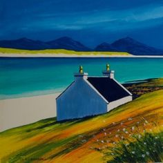"""Timsgarry crofthouse<br />12"""" x 12""""<br />acrylic Seascape Art, Abstract Landscape Painting, Landscape Paintings, Watercolours, Watercolor Paintings, Original Paintings, Art Houses, English House, Summer Landscape"""
