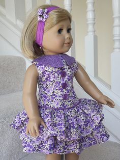 Fields of lilac ruffled dress by CraftyWanda. Made following the 1930's Ruffled Play Dress pattern. Get it here http://www.pixiefaire.com/products/1930s-ruffled-play-dress-18-doll-clothes. #pixiefaire #1930sruffledplaydress