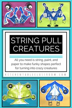 String pull art is about as process oriented as art gets. You get to make a few choices then it's all action and a bit of chance. These fun little creatures start by pulling a string but take it a bit further by adding some details to create some funky looking creatures.
