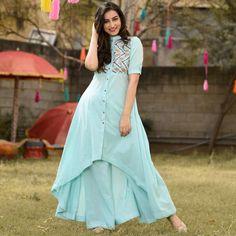 Amazing Turquoise Blue Colour High Low Suit Set - Designer Suits - Suits and Dress material - Womenswear Kurti Neck Designs, Dress Neck Designs, Kurta Designs Women, Kurti Designs Party Wear, Blouse Designs, Kurtha Designs, Kurti Sleeves Design, Indian Gowns Dresses, Pakistani Dresses