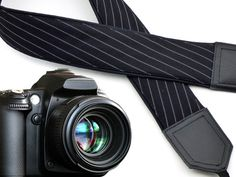 Black camera strap with white stripes. Gentlemen's camera strap. Men's gifts by InTePo