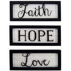 New View Black Faith Hope Love Divided Sign ($20) ❤ liked on Polyvore featuring home, home decor, wall art, black, wall mounted signs, black home decor, inspirational wall signs and inspirational home decor