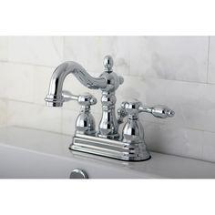 Kingston Brass KB1601TAL Tudor Polished Chrome Two Handle Centerset Bathroom Faucets |eFaucets.com